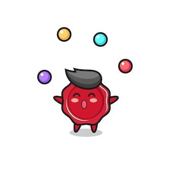 Kreskówka cyrkowa woskowa pieczęć żonglująca piłką, ładny styl na koszulkę, naklejkę, element logo