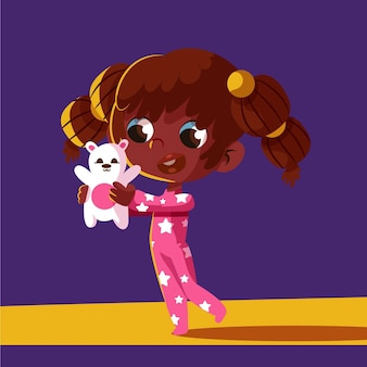 Kreskówka czarna dziewczyna ilustracja z misiem