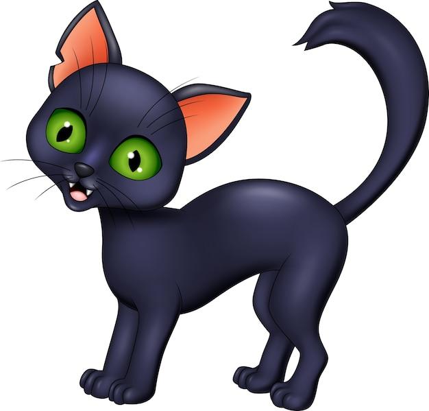 Kreskówka czarny kot odizolowywający na białym tle