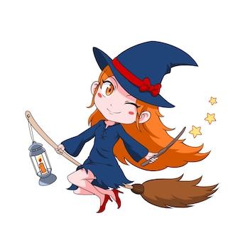 Kreskówka czarownica pływające na miotle.