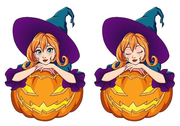 Kreskówka czarownica siedzi na jack o lantern