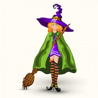 Kreskówka czarownica w fioletowy kapelusz z miotłą na białym tle