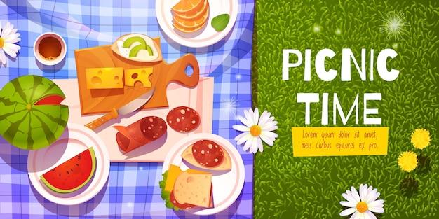 Kreskówka czas pikniku w tle