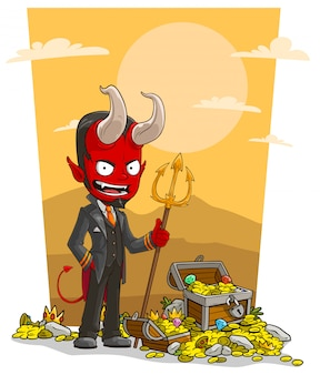 Kreskówka czerwony diabeł z trójzębem i skrzynią skarbów