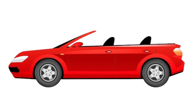 Kreskówka czerwony kabriolet. modny letni samochód bez płaskiego dachu