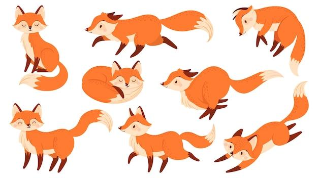 Kreskówka czerwony lis. śmieszne lisy z czarnymi łapami, słodkie skaczące zwierzę. charakter lisa, maskotka lis drapieżny lub ssak leśny. zestaw ikon ilustracja na białym tle wektorów