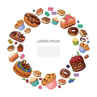 Kreskówka desery okrągła kompozycja z kawałkami ciasta pączkami makaroniki babeczki babeczki ciasta z malinami jeżyny jagody na białym tle