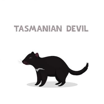 Kreskówka diabeł tasmański na białym tle
