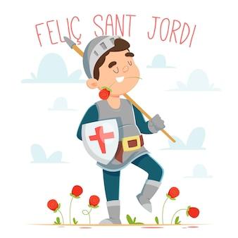 Kreskówka diada de sant jordi ilustracja z rycerzem