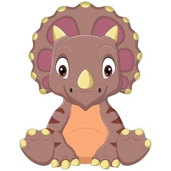 Kreskówka dinozaur triceratops dziecko siedzi