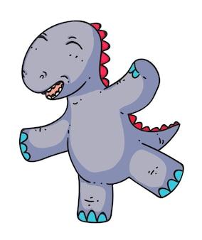 Kreskówka dinozaura taniec na białym tle
