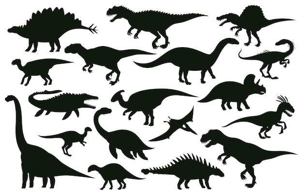 Kreskówka dinozaury, jurajskie sylwetki wymarłych dinozaurów drapieżnych. wymarłe gady jurajskie, starożytne potwory raptor wektor zestaw ilustracji. dinozaury sylwetki czas jurajski tyranozaura