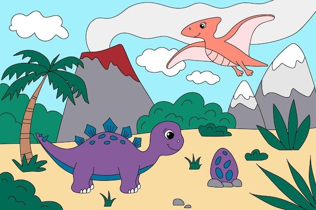 Kreskówka dinozaury ute w prehistorycznym krajobrazie