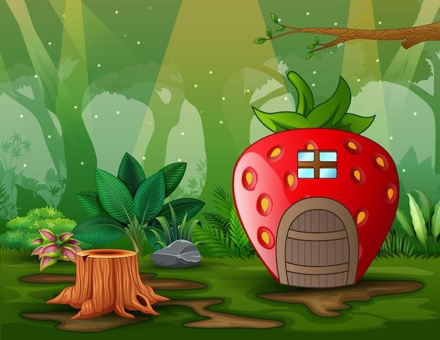 Kreskówka dom fantasy w zielonych polach