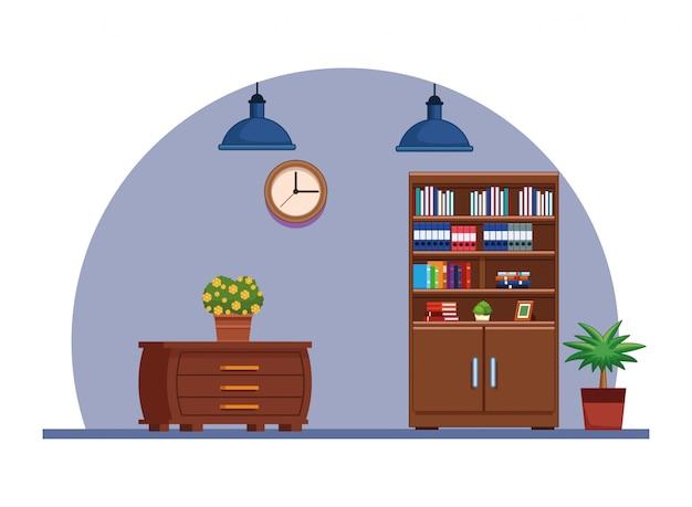 Kreskówka dom ikona meble wnętrza