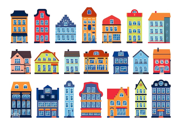 Kreskówka domy kolorowe architektury zestaw amsterdam. inna kamienica, styl europejski. płaski budynek miejski wysokie miasto i podmiejski domek