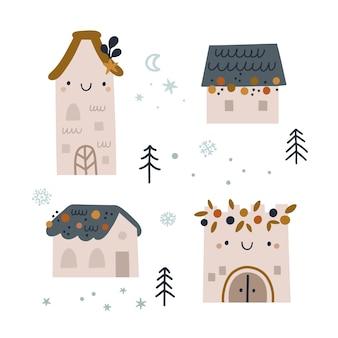 Kreskówka domy w mieście zimowych wakacji. budynek, wieża, twierdza w stylu bazgroły