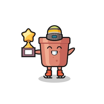 Kreskówka doniczka jako gracz na łyżwach trzyma trofeum zwycięzcy, ładny styl na koszulkę, naklejkę, element logo