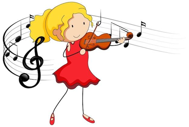 Kreskówka doodle dziewczyna gra na skrzypcach z symbolami melodii na białym tle