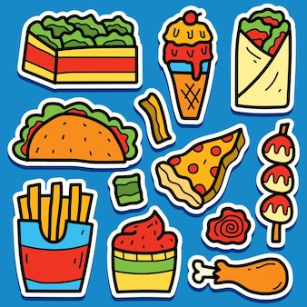 Kreskówka doodle kawaii projekt naklejki żywności