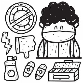 Kreskówka doodle usuwa wirusy