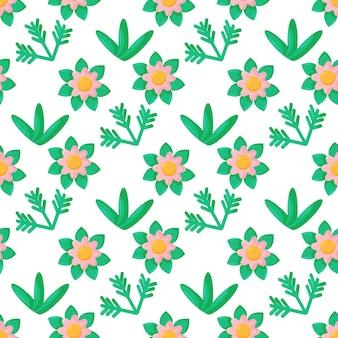 Kreskówka doodle wzór krzewów pozostawia kwiaty w skandynawskim stylu dziecinnym tle