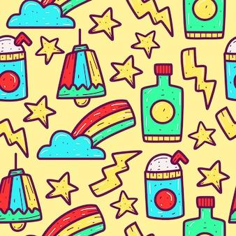 Kreskówka doodle wzór projektowania ilustracji