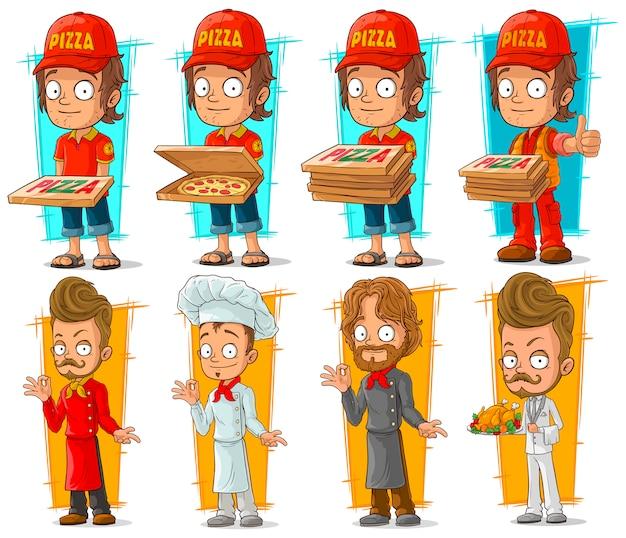 Kreskówka dostawy pizzy chłopiec i zestaw znaków szefa kuchni