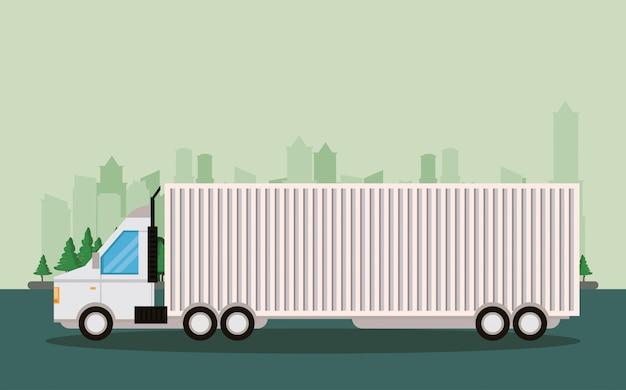 Kreskówka dostawy towarów logistycznych ciężarówek