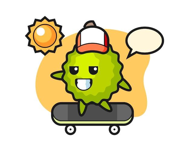 Kreskówka durian jeździ na deskorolce