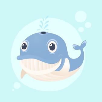 Kreskówka duży wieloryb uśmiechnięty