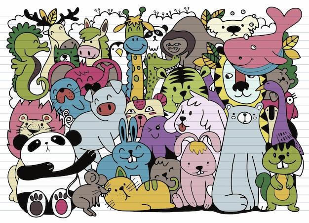 Kreskówka duży zestaw uroczych doodle zwierząt. idealna na pocztówkę, urodzinową książeczkę do pokoju dziecięcego, ilustrację do kolorowanki, każda na osobnej warstwie.