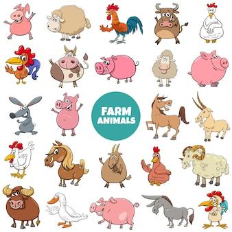 Kreskówka duży zestaw znaków zwierząt gospodarskich
