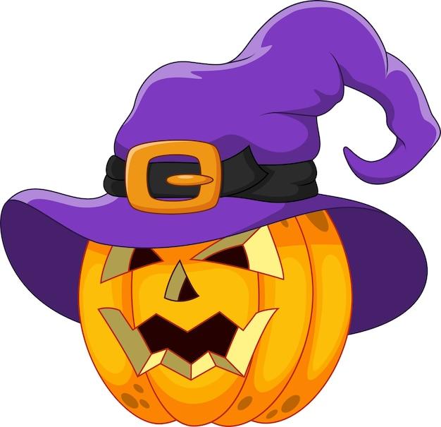 Kreskówka dynia halloween w kapeluszu czarownicy