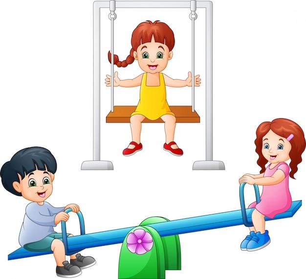 Kreskówka dzieci bawiące się huśtawka i huśtawka
