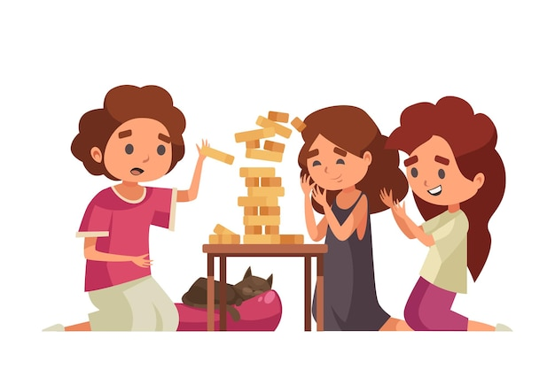 Kreskówka dzieci bawiące się jenga