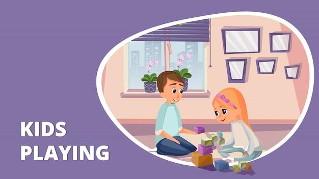 Kreskówka dzieci bawiące się klocki na podłodze