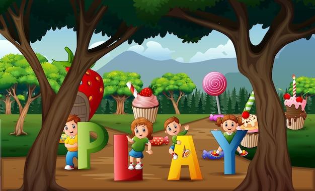 Kreskówka dzieci bawiące się w słodkiej krainie