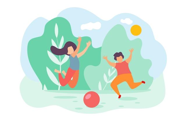 Kreskówka dzieci chłopiec i dziewczynka skakać i grać w piłkę z zabawkami