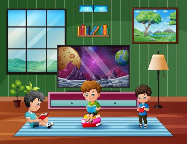 Kreskówka dzieci czytające książkę w domu