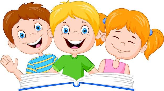 Kreskówka dzieci czytanie książki