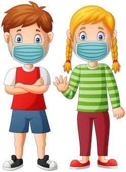 Kreskówka dzieci noszą maskę ochronną przed wirusem. ilustracja