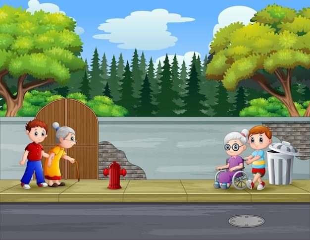 Kreskówka dzieci spacerujące z babcią na poboczu drogi
