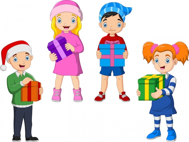 Kreskówka dzieci stoją, trzymając prezenty