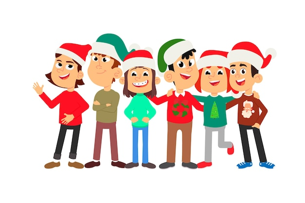 Kreskówka dzieci w czapkach świątecznych świętują nowy rok w pobliżu udekorowanej choinki.