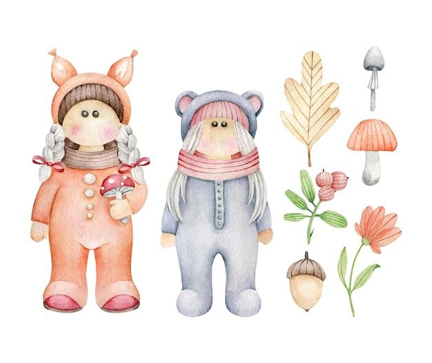 Kreskówka dzieci w kostiumie zwierząt leśnych