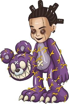 Kreskówka dzieci w kostiumy na halloween. świetne do dekoracji imprezowej halloween w stylu kreskówek. ilustracja wektorowa.