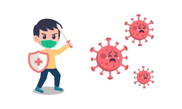 Kreskówka dzieci w masce walczącej z wirusem koronowym.