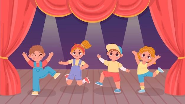 Kreskówka dzieci wykonujących taniec na scenie teatru z kurtyną. przedszkolna aktywność grupowa chłopców i dziewcząt. koncepcja wektor pokaz tańca dzieci. małe postacie wspólnie bawią się