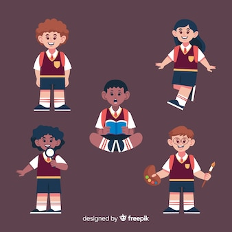 Kreskówka dzieci z powrotem do kolekcji szkolnej